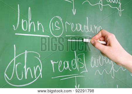 Teacher hand writing grammar sentences on blackboard background
