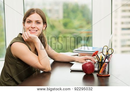 Student Girl Working At The Computer