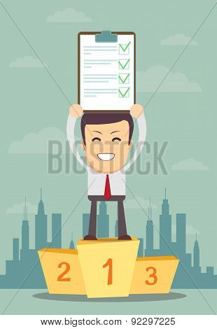 Businessman holding up winning Document in Which All Approved