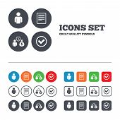 Bank loans icons. Cash money bag symbol. Apply for credit sign. Check or Tick mark. Web buttons set. Circles and squares templates. Vector poster