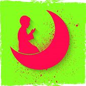 Pink silhouette of a religious Muslim boy offering Namaz (Islamic Prayer) in front of crescent moon on shiny green background for holy month of Muslim community, Ramadan Kareem celebration. poster
