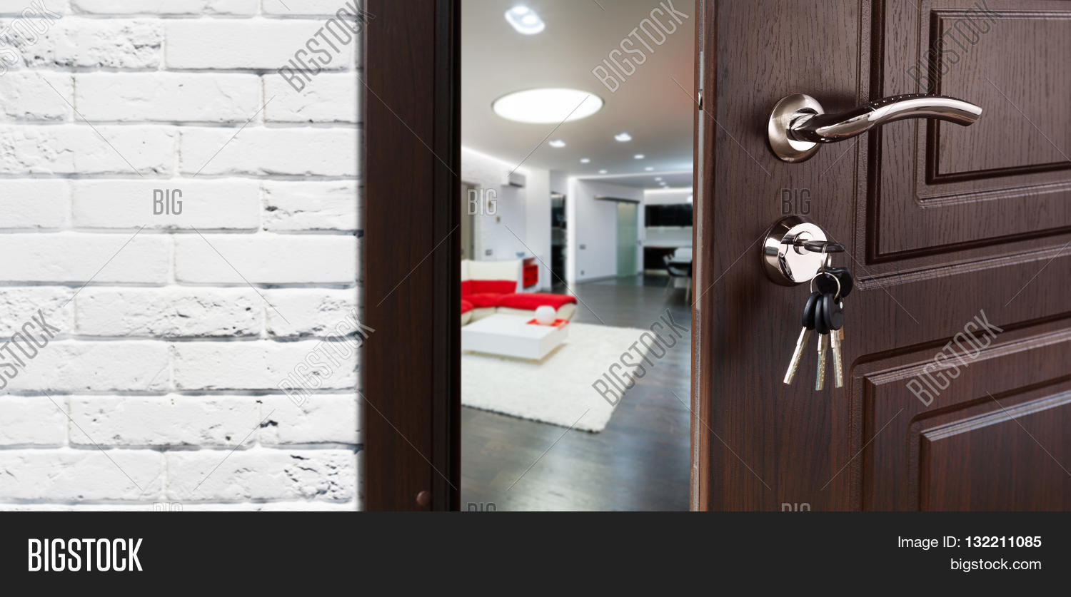 Half opened door to a living room. Door handle door lock. Lounge door & Half Opened Door Living Room. Door Image \u0026 Photo | Bigstock