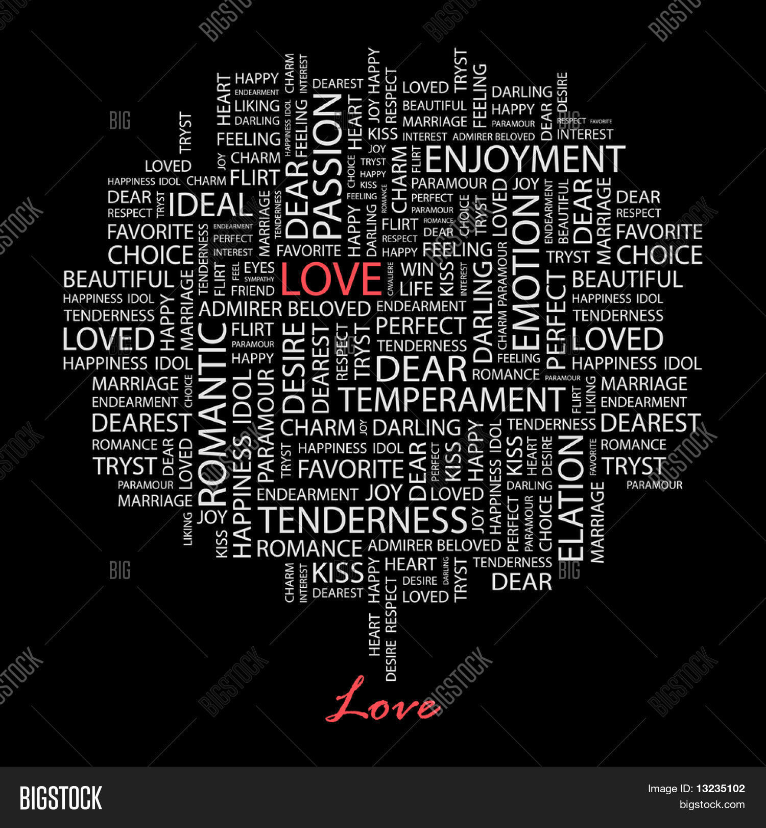 Love Word Collage On Black Background Il Ration With Different Ociation Terms