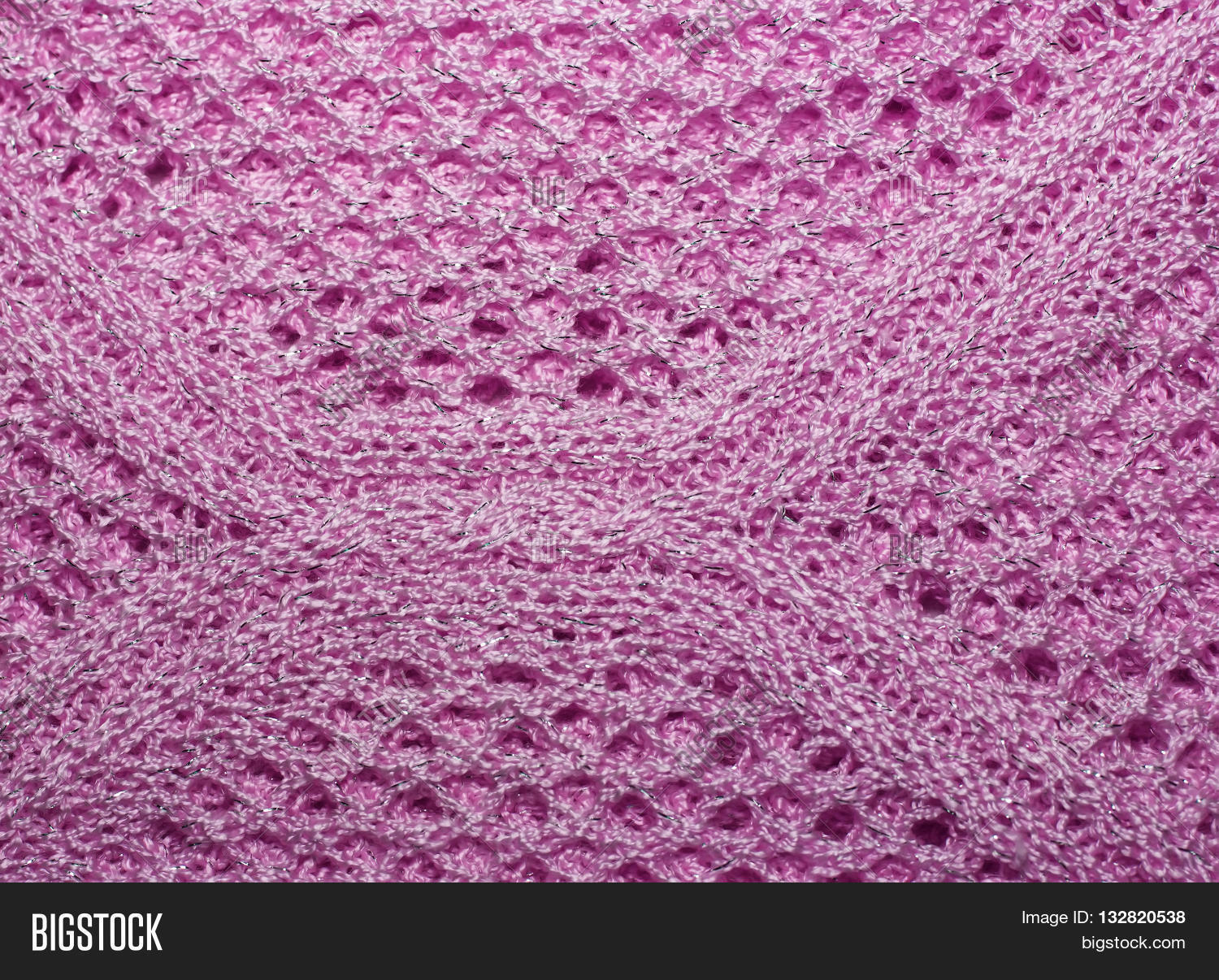 2834a2c9b63bb Pink Knitted Wool Fabric Texture Closeup. With Lurex Thread