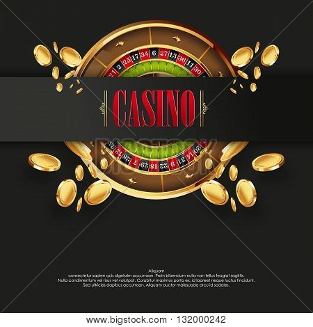 Casino logo poster background or flyer. Casino invitation or banner template with Roulette Wheel an Flying Golden Coins. Game design. Playing casino games. Vector illustration.
