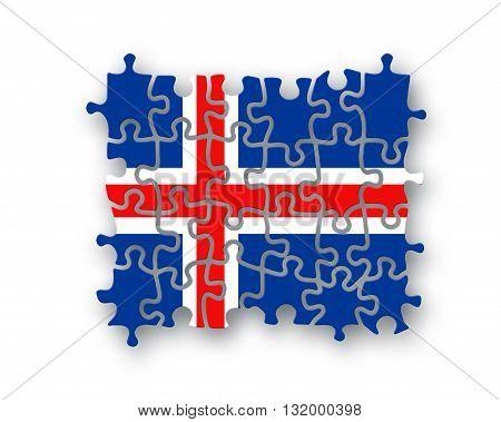 Iceland Flag Jigsaw