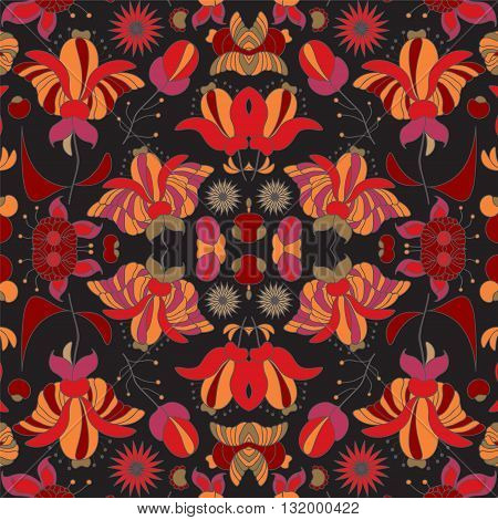 stock vector seamless doodle floral pattern. orient. abstract background