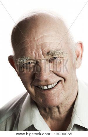 Happy elderly man isolated on white background