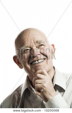 Glücklich älterer Mann, isolated on white background