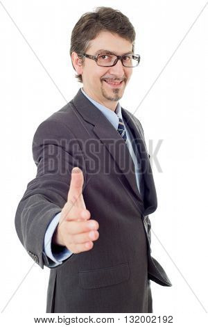 businessman in suit offering to shake the hand, isolated