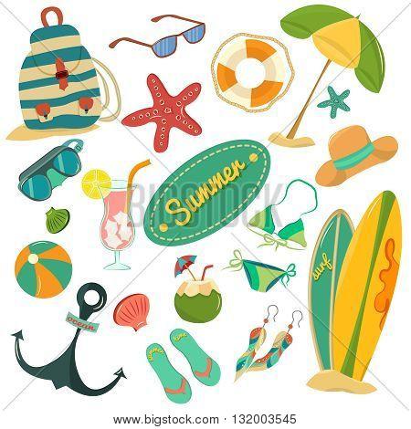 Beautiful summer vintage set Retro summer vacation set with hand drawn flip flops, sun glasses, beach bal, sea star poster