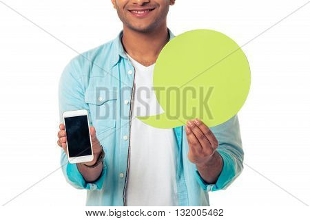 Afro American With Speech Bubble And Gadget