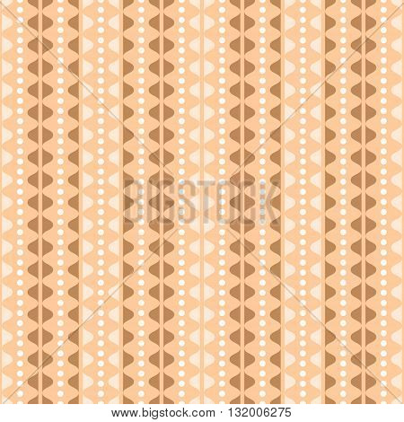 Elegant seamless pattern in country style. Vertical rows of undulating shapes and small circles. Cute ornament in orange, brown, white colors. Vector illustration for various creative projects