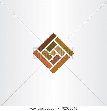 Brown Wall Tile Square Logo Vector Icon
