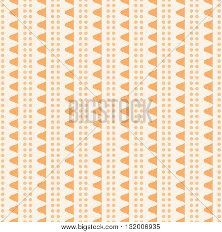 Abstract seamless geometric pattern. Vertical rows of undulating shapes and small circles. Cute ornament in orange color. Vector illustration for various creative projects