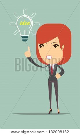 business woman showing she has an idea. Stock vector illustration