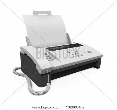 Fax Machine with Paper isolated on white background. 3D render