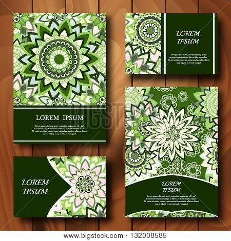 Vector templates set. Business cards banners fliyers or invitations with mandala ornaments. Islam Arfbic Indian Turkish Ottoman Pakistan mitifs. Design template.