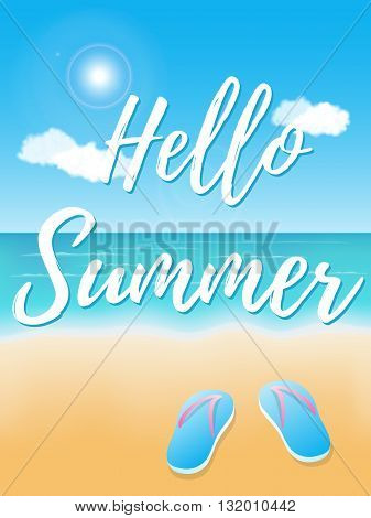 Hello Summer. Poster on tropical beach background. Vector illustration