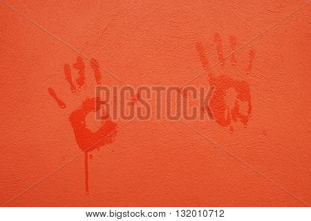 Hand prints / handprints on red background