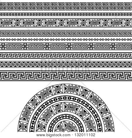Ethnic geometric design set. sign, border decoration elements in black color isolated on white background. vector illustration. Could be used as divider, frame, etc