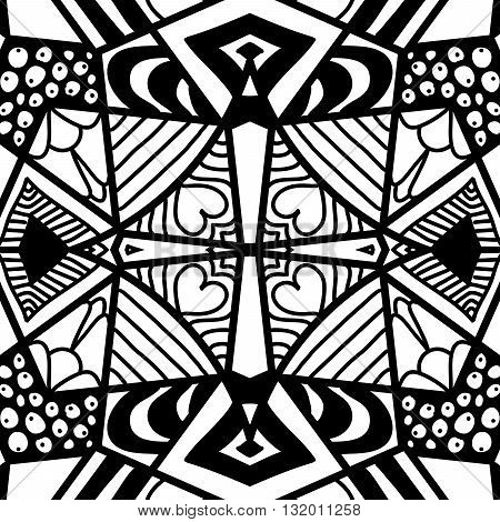Hand drawn seamless pattern in zendoodle style