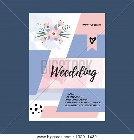 Vector wedding Brochure blank template. Front page and back page. Abstract female brochure design. Wedding planner flyer vector.
