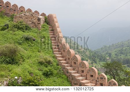 walls of Chittorgarh Fort in Rajasthan India.