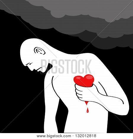 Man having a heart attack, EPS8 vector illustration