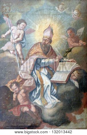 KOTARI, CROATIA - SEPTEMBER 16: Saint Gregory altarpiece in the church of Saint Leonard of Noblac in Kotari, Croatia on September 16, 2015.