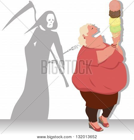 Grim Reaper touches an overweight woman, holding a giant ice cream cone, vector illustration