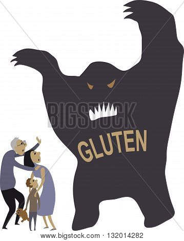 People scared of gluten, EPS8 vector illustration