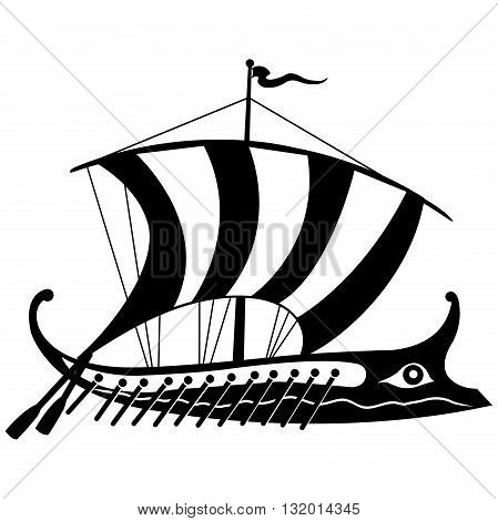 Ancient Greek trireme black and white isolated on white background.