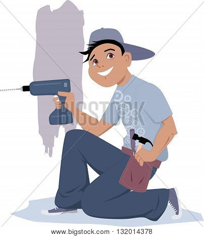 Handyman with an electric drill, EPS8 vector illustration