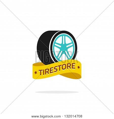 Tire store vector logo template isolated on white background color tire wheel with disk with tirestore yellow ribbon symbol flat tire icon design creative emblem trendy brand sign