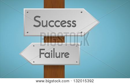 Success and failure sign. Wooden pole with success and failure sign. Vector sign element.