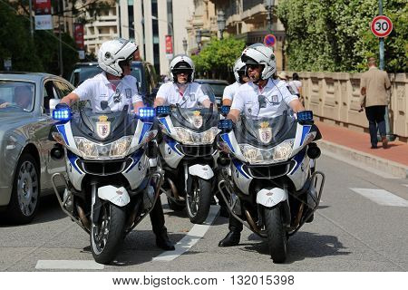 Monte-Carlo Monaco - May 28 2016: Four Motorcyclists of the Monaco Police during the Monaco Formula 1 Grand Prix 2016