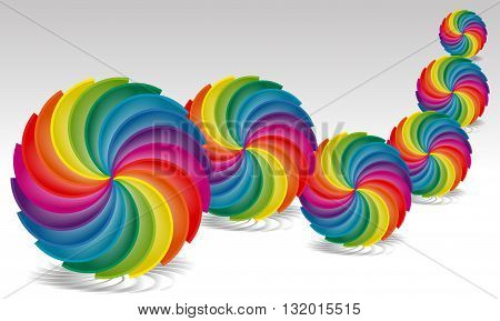 Rainbow Palette spun in a circle. Abstract illustration for prints and backgrounds