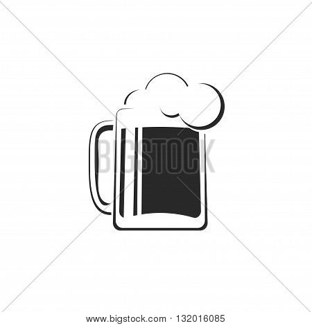 Black and white beer glass with foam vector icon template concept of pub logotype beer drink bar symbol abstract pub sign beer mug flat logo trendy design illustration isolated on white
