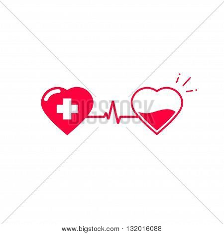 Blood donation vector symbol two hearts connected with pulse cardiogram tube donate blood flat logo design creative emblem illustration isolated on white background