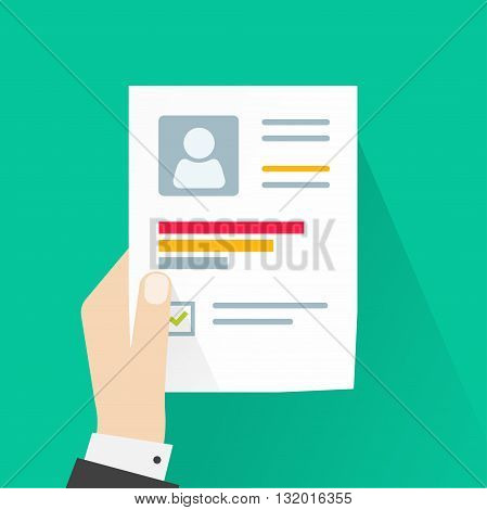 CV application paper sheet business man hand holding resume document concept of job interview personal data skills graph training results flat modern vector design isolated on green background