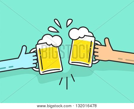 Two abstract hands holding beer glasses beer glasses foam clinking friends toasting concept of cheering people party celebration in pub flat outline art line design vector illustration isolated