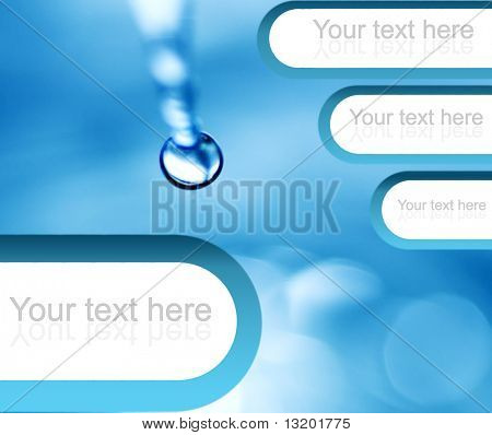 Falling water drop with graphic design elements (perfect to place your text)
