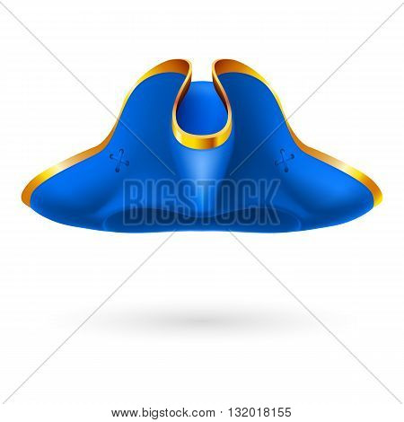 Blue pirate cocked hat on white background