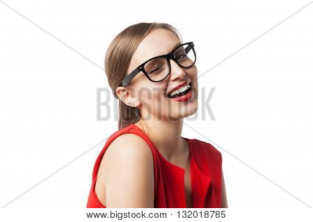 Jovial woman with red lips winking at camera.Isolated