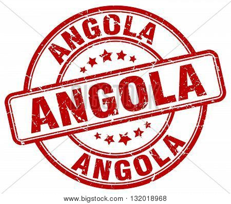 Angola red grunge round vintage rubber stamp.Angola stamp.Angola round stamp.Angola grunge stamp.Angola.Angola vintage stamp.