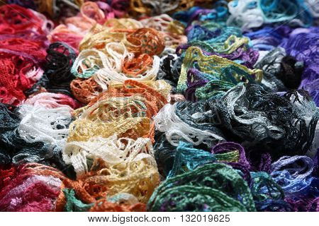 Background Many different colors in one place crocheted colored scarf