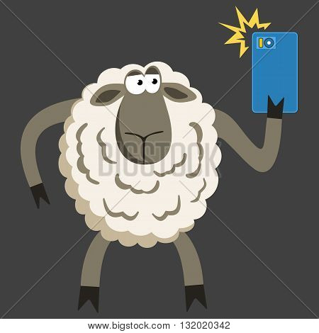 Selfie goofy sheep holding smartphone and taking self portrait with bright flash. Selfie vector concept on black background