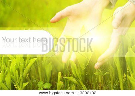 Human hands touching green grass. Graphic design elements on it are perfect to put text on poster