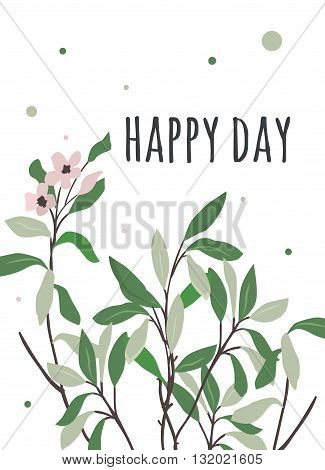 Card happy day with sumptuous wind green leaves. Bright summer illustration for flyers posters postcards.